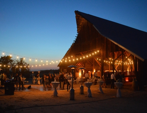 Rustic Wedding Reception With String Lights